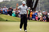 Rory McIlroy acknowledges the thunderous applause he received at the completion of his second round in the 2014 PGA Championship.