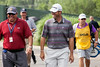 Ryan Palmer was all smiles as he approached the 10th hole in a three-way tie for 1st in the 3rd round of the PGA Championship at Valhalla on Saturday.
