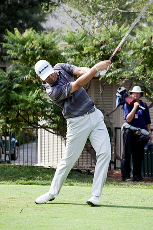 Ryan Palmer drives from the 10th hole on Saturday.