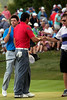 Jason Day and Rory McIlroy shake hands after completing the third round of the 2014 PGA Championship at Valhalla on Saturday.