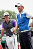 Rory McIlroy and Bernd Wiesberger have a lighter moment before teeing off on the first hole.
