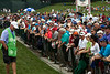 Crowds around the 1st hole grew as the leaders' tee times approched.