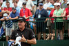 Phil Mickelson sized up the 1st hole with a long stare down the fairway.