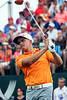 Crowd favorite Rickie Fowler whacks it on his first drive of the day.