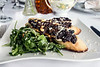 The Bruschetta with Eggplant Caponata is made with goat cheese, pine nuts, arugala and lemon citronette. 8/28/14