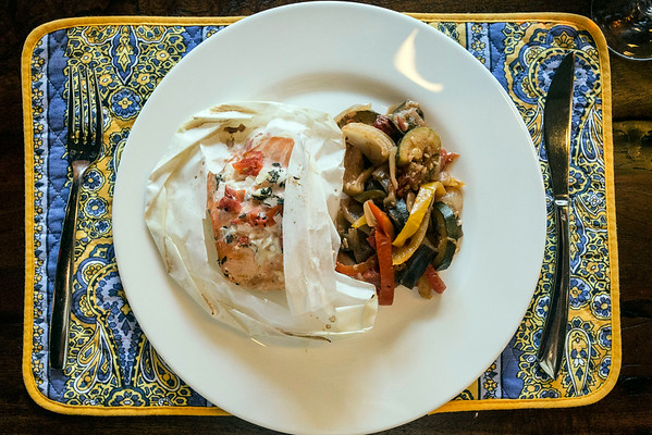 The Papillote de Saumon is salmon papillote Meridionale, Camargue rice, and Provencal tomato served with ratatouille and panisse. 8/28/14