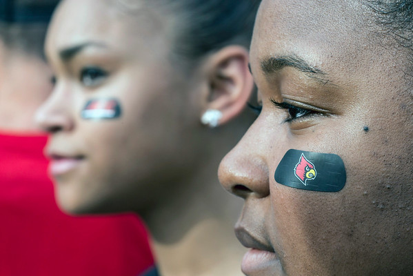UofL students Michelle Crawford and Tori Cooper were ready for the opening game of the UofL 2014 Football season.