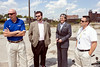 Spalding University officials (left to right) Roger Burkman, Bert Griffin, Tori Murden-McClure and Mark Hohmann meet on the 7.3 acre vacant lot bound by 9th and 10th Streets, and Kentucky and Breckenridge Streets to discuss the future plans for a sports complex. 9/3/14