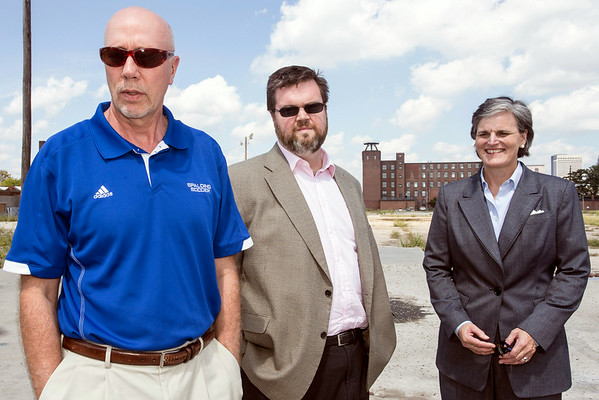 Spalding University Athletic Director Roger Burkman discusses the impact a new sports facility will have on luring new student athletes while Chief Advancement Officer Bert Griffin and University President Tori Murden McClure listen in. 9/3/14