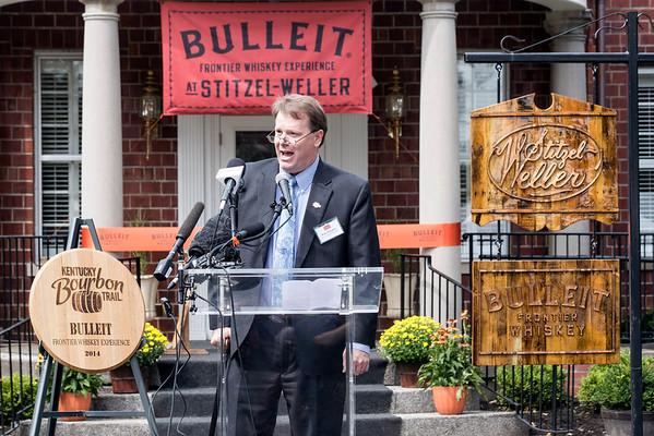 Eric Gregory of the Kentucky Distillers Association unveils the official Kentucky Bourbon Trail sign for the Bulleit Bourbon Distillery. 9/15/14