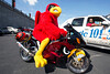 The Cards mascot gets in a photo opp with a UofL-themed motorcycle during tailgating before the Wake Forest game. 9/27/14
