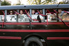 The fellas from the Sigma Alpha Epsilon chapter favored the traditional party bus for the UofL Homecoming Parade on Friday night. 10/17/14
