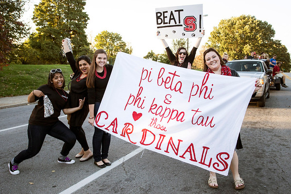 The ladies of Pi Beta Phi were showing their school pride during the UofL Homecoming Parade on Friday night. 10/17/14