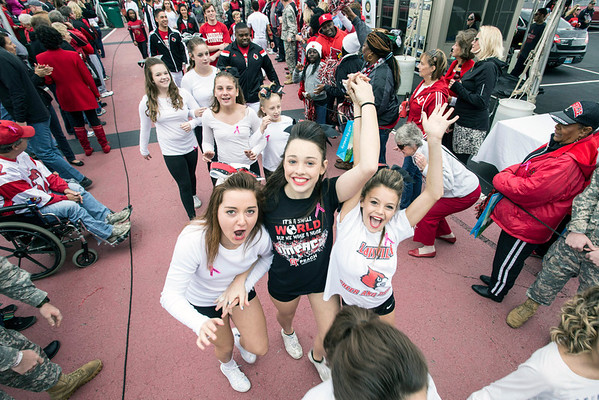 Several local cheer teams took part in the homecoming version of the Cards March before the game versus North Carolina State on Saturday. 10/18/14