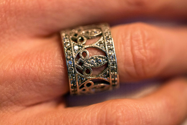 A fleur de lis ring provides another detail to the expressive nature of Dana Emerson. 12/5/14