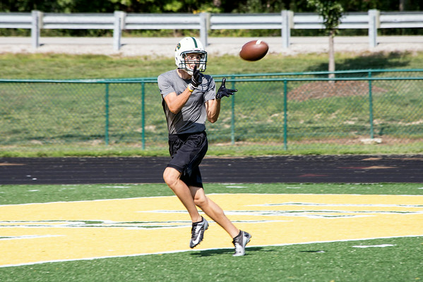 Floyd Central wide receiver Adam Wallace takes advantage of being wide open during practice.