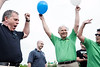 The Crew Challenge Team of Mike Berry, Jeff English, David Nett, and Leslie Brocker celebrate their success at completing the balloon inflation phase of the Crew Challenge.