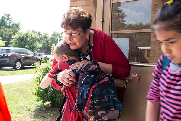Engelhard principal Teresa Meyer hugs a student good-bye on the last day of school. 6/5/15