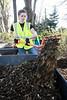 Olmsted Parks volunteer Candace Dupps shovels mulch during a clean up effort in Seneca Park on Thursday afternoon. 4/14/16