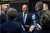 Director for the office of Community Oriented Policing Services (C.O.P.S.) Ron Davis greets members of the LMPD at the conclusion of a press conference outlining his observations while in Louisville. 4/15/16
