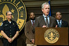 Louisville mayor Greg Fischer stands with chief of police Steve Conrad, Rashaad Abdur-Rahman, and Obama appointee Ron Davis during a press conference on Friday afternoon. Davis, the director for the office of C.O.P.S., detailed his observations on police relations in the city at the conclusion of his visit. 4/15/16