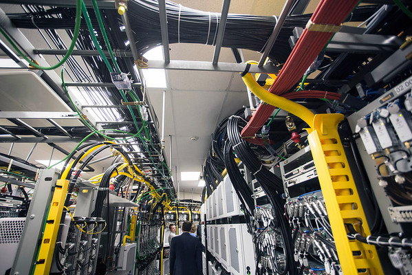 A labyrinth of wires run the span of the giant server room in Churchill Downs with an upgrade allowing more capacity for wireless users on Derby Day. 4/18/16