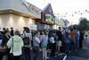 A line of people wrap around the Fresh Thyme in St. Matthews early on Wednesday morning as the new store offered a free bag of groceries to the first 250 people. 4/27/16