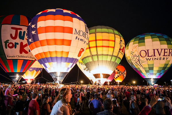 The Great Balloon Glow on Friday night drew a crowd in the tens of thousands to see 26 balloons up close and lit against a night sky. 4/29/16