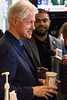 Former president Bill Clinton speaks to the media at Heine Bros. Coffeeshop during a campaign visit on Tuesday afternoon. 5/3/16