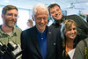 Former president Bill Clinton joins Michael Williams, Will Clark, and Amy Harris for a press pool shot while visiting Franco's on Dixie Highway Tuesday afternoon. 5/3/16