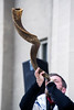 Rabbi Dusty Benham of Y'shua's Burning Bush Ministries blows through a ram's horn known as a shofar during the National Day of Prayer on Thursday afternoon. 5/5/16