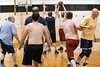 UofL assistant professor Brian Robinson looks for the open man during a staff-faculty game in Crawford Gym on Friday afternoon. 5/13/16