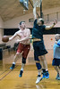 UofL assistant professor Matt Bergman goes up strong against associate director of admissions Wes Partin during a regular faculty and staff game at Crawford Gym on Friday afternoon. 5/13/16