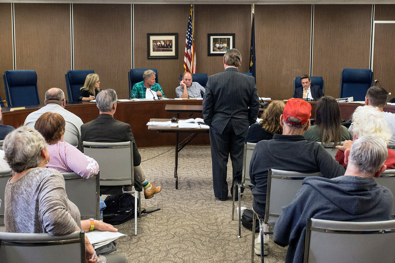The Zoning Board of Appeals in Clark County listens to pleas by attorney David Kraft to extend a motion to hear public concerns about the burning of hazardous materials at the Essroc plant. 5/18/16