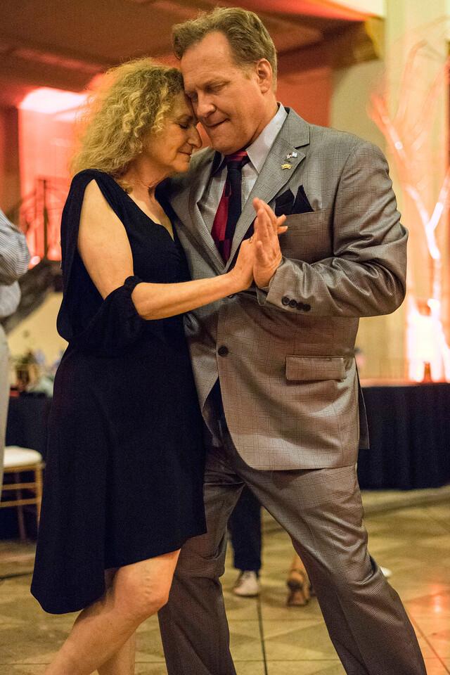 Tango instructor Andy Blair joins Deborah Denenfeld during a Louisville Tango Festival Milonga on Friday night. 5/27/16
