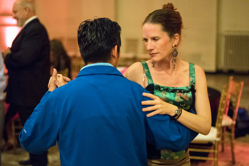 Alexis Weinkauf stays in the moment while doing the Tango with Sherman Salangad on Friday at The Gillespie. 5/27/16