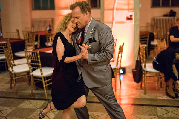 Instructor Andy Blair leads partner Deborah Denenfeld on the dance floor of The Gillespie during the Louisville Tango Festival. 5/27/16