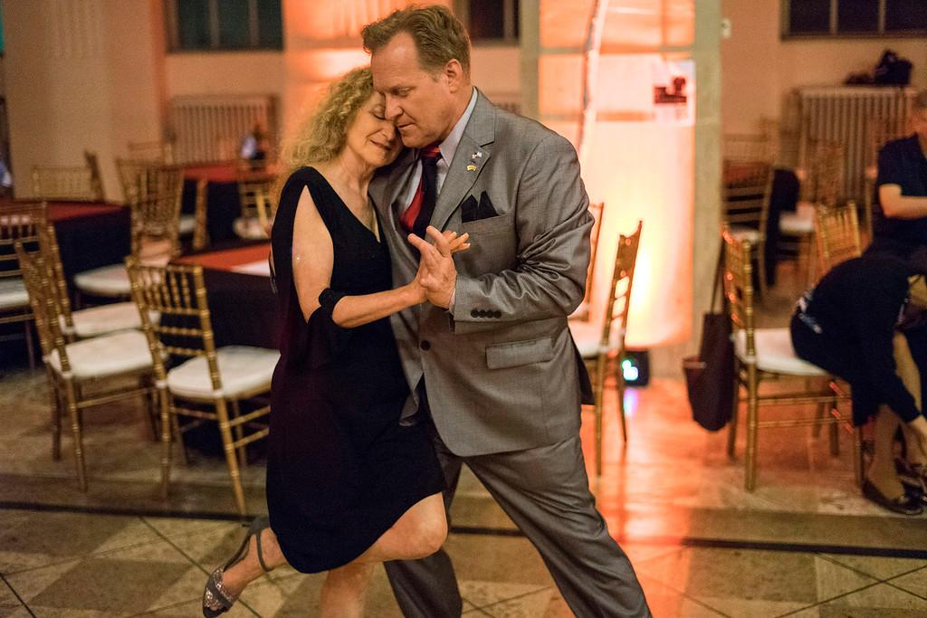 Instructor Andy Blair leads partner Deborah Denenfeld on the dance floor of The Gillespie during the Louisville Tango Festival. 5/27/16