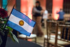 """With the """"sun of May"""" in the center, the flag of Argentina was proudly on display during the Louisville Tango Festival. 5/27/16"""