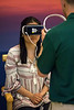 Jiahui Hu tries on the Oculus Gear Virtual Reality headset during a demonstration in the Humana lobby on Thursday morning. 6/2/16