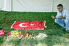 Yusuf Anac of Germany placed a Turkish flag on the gravesite of Muhammad Ali on Saturday morning. 6/11/16