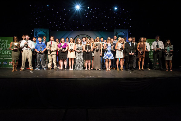 Winners of the first Courier-Journal Kentuckiana Sports Awards line the stage for one large group shot on Tuesday night at the Expo Center. 6/14/16