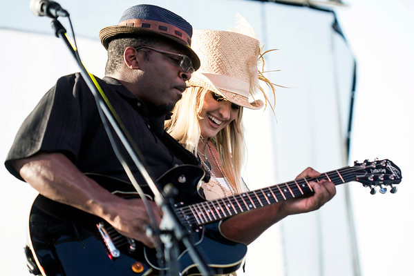 Singer Tullie Brae gets close to her guitarist during the opening performance of the annual Blues, Brews & BBQ Festival. 7/22/16