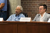 Commission on Public Art boardmembers Ed Hamilton and Theo Edmonds listen as citizens suggest new locations for the Confederate Statue on 3rd Street. 7/25/16