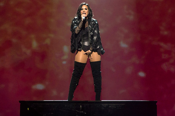 Pop star Demi Lovato teased the crowd during the opening song of her concert at the Yum Center on Friday night. 7/29/16
