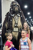 Wookiee Mark Gau poses with miniature fans Ley and Leia Reynolds and their cousin Alex Gongorra during FandomFest 2016. 7/30/16
