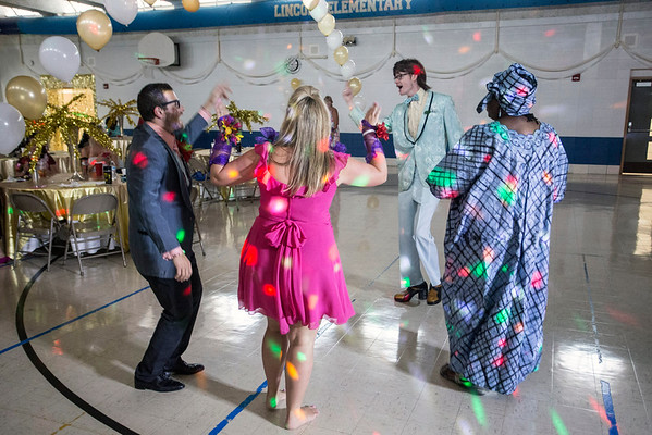 """Faculty and staff at Lincoln Elementary held a """"tacky"""" prom on Monday morning as teachers returned for the first day of the 2016-17 JCPS school year. 8/8/16"""