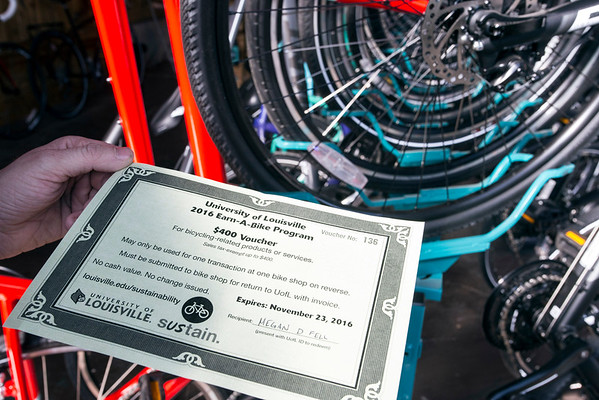 The UofL Earn-A-Bike Program rewards students with a $400 voucher for completing a course to promote campus cycling. 8/22/16