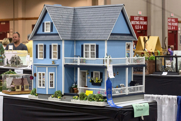 Debra Beard's blue ribbon winning class 040 furnished dollhouse was on full display at the Kentucky State Fair. 8/24/16