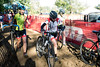 The first wave of women cyclists navigate the heavy footed sand path of the 12th Annual Papa John's Storm Eva Bandman Halloween Cross on Sunday. 10/23/16